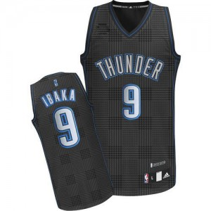 Maillot Adidas Noir Rhythm Fashion Authentic Oklahoma City Thunder - Serge Ibaka #9 - Homme