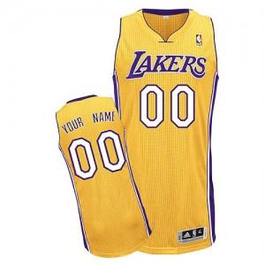 Los Angeles Lakers Personnalisé Adidas Home Or Maillot d'équipe de NBA pas cher - Authentic pour Homme