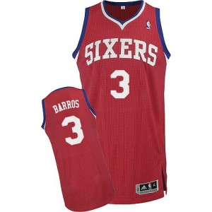 Maillot Adidas Rouge Road Authentic Philadelphia 76ers - Dana Barros #3 - Homme