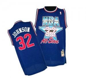 Los Angeles Lakers #32 Mitchell and Ness 1992 All Star Throwback Bleu Swingman Maillot d'équipe de NBA en soldes - Magic Johnson pour Homme