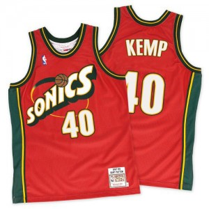 Oklahoma City Thunder Mitchell and Ness Shawn Kemp #40 Throwback SuperSonics Authentic Maillot d'équipe de NBA - Rouge pour Homme