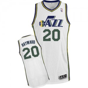 Maillot NBA Utah Jazz #20 Gordon Hayward Blanc Adidas Authentic Home - Homme