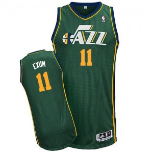 Maillot NBA Utah Jazz #11 Dante Exum Vert Adidas Authentic Alternate - Homme