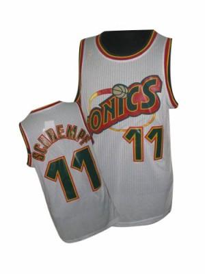 Oklahoma City Thunder Detlef Schrempf #11 Throwback SuperSonics Authentic Maillot d'équipe de NBA - Blanc pour Homme