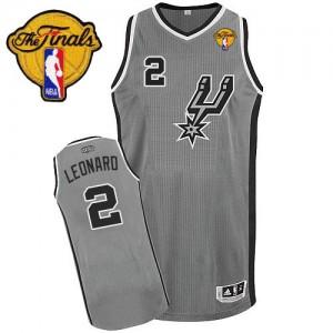 San Antonio Spurs Kawhi Leonard #2 Alternate Finals Patch Authentic Maillot d'équipe de NBA - Gris argenté pour Enfants