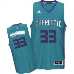 Maillot Adidas Bleu clair Road Authentic Charlotte Hornets - Alonzo Mourning #33 - Homme