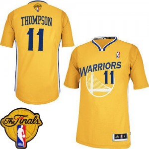 Golden State Warriors Klay Thompson #11 Alternate 2015 The Finals Patch Authentic Maillot d'équipe de NBA - Or pour Femme
