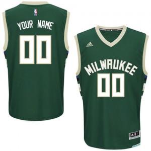 Maillot Adidas Vert Road Milwaukee Bucks - Swingman Personnalisé - Homme