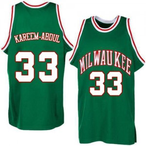 Maillot NBA Milwaukee Bucks #33 Kareem Abdul-Jabbar Vert Adidas Authentic Throwback - Homme