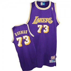Maillot NBA Violet Dennis Rodman #73 Los Angeles Lakers Throwback Authentic Homme Mitchell and Ness