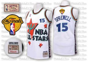 Golden State Warriors #15 Adidas Throwback 2015 The Finals Patch Blanc Authentic Maillot d'équipe de NBA en ligne pas chers - Latrell Sprewell pour Homme