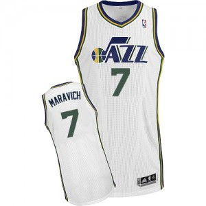 Utah Jazz Pete Maravich #7 Home Authentic Maillot d'équipe de NBA - Blanc pour Homme