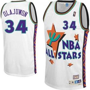 Houston Rockets Hakeem Olajuwon #34 Throwback 1995 All Star Authentic Maillot d'équipe de NBA - Blanc pour Homme