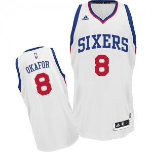 Maillot Adidas Blanc Home Swingman Philadelphia 76ers - Jahlil Okafor #8 - Homme