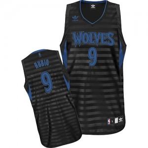 Minnesota Timberwolves #9 Adidas Groove Gris noir Swingman Maillot d'équipe de NBA la vente - Ricky Rubio pour Homme
