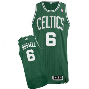 Maillot Adidas Vert (No Blanc) Road Authentic Boston Celtics - Bill Russell #6 - Homme