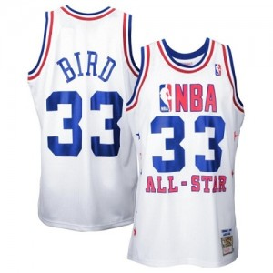 Maillot NBA Blanc Larry Bird #33 Boston Celtics Throwback 1990 All Star Swingman Homme Mitchell and Ness