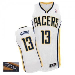 Maillot NBA Blanc Paul George #13 Indiana Pacers Home Autographed Authentic Homme Adidas