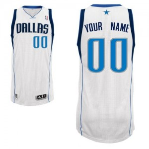 Maillot NBA Dallas Mavericks Personnalisé Authentic Blanc Adidas Home - Homme