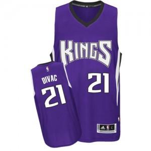Maillot NBA Violet Vlade Divac #21 Sacramento Kings Road Authentic Homme Adidas