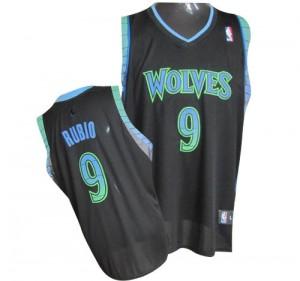Minnesota Timberwolves #9 Adidas Vibe Noir Authentic Maillot d'équipe de NBA Prix d'usine - Ricky Rubio pour Homme