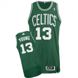 Maillot NBA Authentic James Young #13 Boston Celtics Road Vert (No Blanc) - Homme