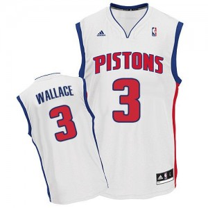 Maillot NBA Blanc Ben Wallace #3 Detroit Pistons Home Swingman Homme Adidas