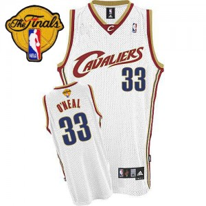 Maillot NBA Cleveland Cavaliers #33 Shaquille O'Neal Blanc Adidas Authentic Throwback 2015 The Finals Patch - Homme