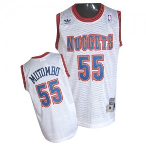 Maillot NBA Authentic Dikembe Mutombo #55 Denver Nuggets Throwback Blanc - Homme