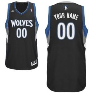 Maillot Adidas Noir Alternate Minnesota Timberwolves - Swingman Personnalisé - Homme