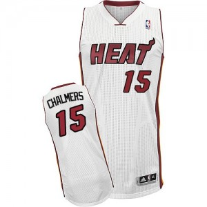 Maillot Adidas Blanc Home Authentic Miami Heat - Mario Chalmers #15 - Homme