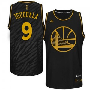 Golden State Warriors #9 Adidas Precious Metals Fashion Noir Authentic Maillot d'équipe de NBA pas cher - Andre Iguodala pour Homme