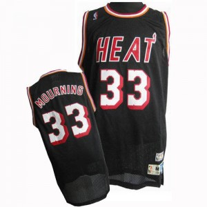 Maillot NBA Miami Heat #33 Alonzo Mourning Noir Adidas Authentic Throwback Finals Patch - Homme