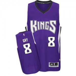 Maillot NBA Violet Rudy Gay #8 Sacramento Kings Road Authentic Homme Adidas