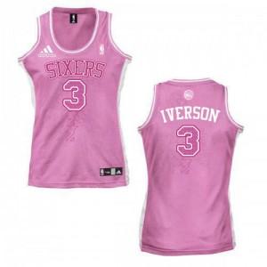 Philadelphia 76ers #3 Adidas Fashion Rose Authentic Maillot d'équipe de NBA en soldes - Allen Iverson pour Femme