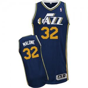 Maillot NBA Bleu marin Karl Malone #32 Utah Jazz Road Authentic Homme Adidas