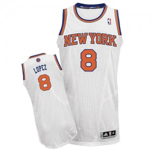 Maillot Authentic New York Knicks NBA Home Blanc - #8 Robin Lopez - Homme