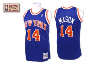 New York Knicks Mitchell and Ness Anthony Mason #14 Throwback Swingman Maillot d'équipe de NBA - Bleu royal pour Homme