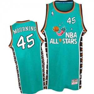 Maillot NBA Bleu clair Alonzo Mourning #45 Miami Heat 1996 All Star Throwback Swingman Homme Mitchell and Ness