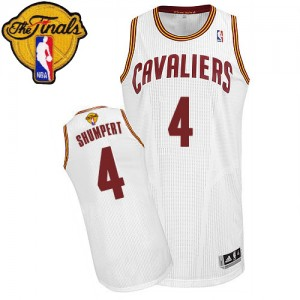 Maillot Authentic Cleveland Cavaliers NBA Home 2015 The Finals Patch Blanc - #4 Iman Shumpert - Homme