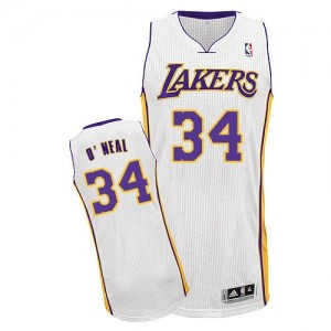 Maillot Authentic Los Angeles Lakers NBA Alternate Blanc - #34 Shaquille O'Neal - Homme