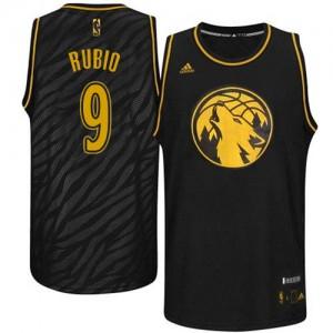 Minnesota Timberwolves #9 Adidas Precious Metals Fashion Noir Authentic Maillot d'équipe de NBA à vendre - Ricky Rubio pour Homme