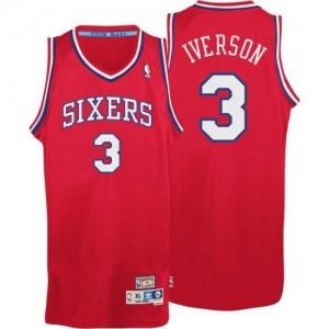 Philadelphia 76ers #3 Adidas Throwack Rouge Authentic Maillot d'équipe de NBA à vendre - Allen Iverson pour Homme