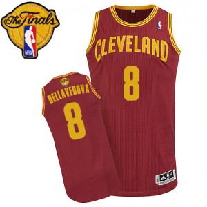 Maillot NBA Authentic Matthew Dellavedova #8 Cleveland Cavaliers Road 2015 The Finals Patch Vin Rouge - Homme