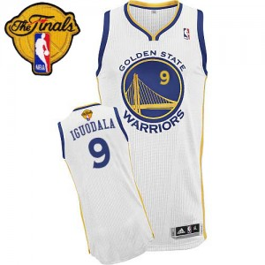 Maillot Authentic Golden State Warriors NBA Home 2015 The Finals Patch Blanc - #9 Andre Iguodala - Homme
