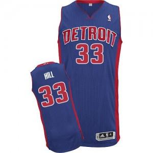 Maillot NBA Bleu royal Grant Hill #33 Detroit Pistons Road Authentic Homme Adidas