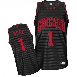 Maillot NBA Gris noir Derrick Rose #1 Chicago Bulls Groove Authentic Homme Adidas