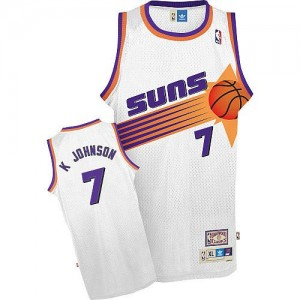Maillot NBA Blanc Kevin Johnson #7 Phoenix Suns Throwback Authentic Homme Adidas
