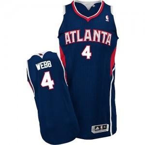 Maillot Authentic Atlanta Hawks NBA Road Bleu marin - #4 Spud Webb - Homme