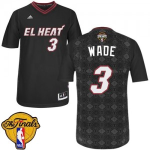 Maillot Adidas Noir New Latin Nights Finals Patch Authentic Miami Heat - Dwyane Wade #3 - Homme